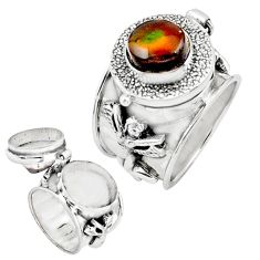 4.96cts natural mexican fire opal 925 silver poison box ring size 7.5 p75545