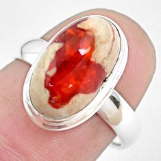 5.08cts natural mexican fire opal 925 silver solitaire ring size 6.5 p48290