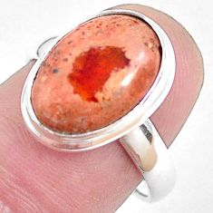 6.63cts natural mexican fire opal 925 silver solitaire ring size 7 p48300
