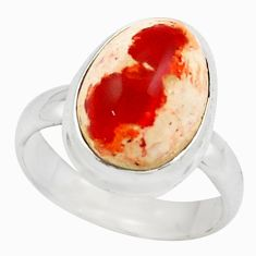 6.58cts natural mexican fire opal 925 silver solitaire ring size 8 p75921