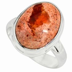 9.42cts natural mexican fire opal 925 silver solitaire ring size 7.5 p79281