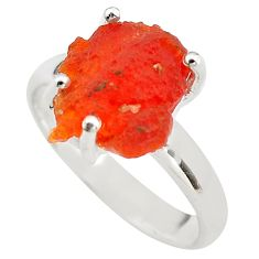 6.19cts natural mexican fire opal 925 silver solitaire ring size 7.5 p84353