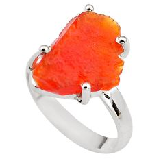 6.43cts natural mexican fire opal 925 silver solitaire ring size 7.5 p84412