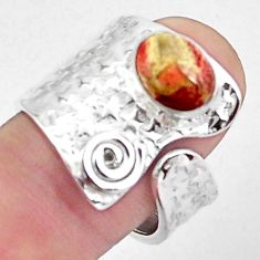 2.50cts natural mexican laguna lace agate silver adjustable ring size 8.5 p57048