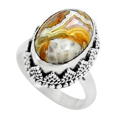6.76cts natural mexican laguna lace agate silver solitaire ring size 6.5 p56702
