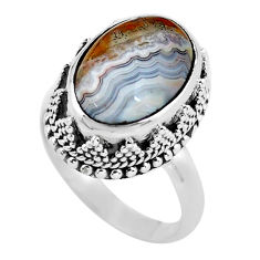6.96cts natural mexican laguna lace agate silver solitaire ring size 6.5 p56703