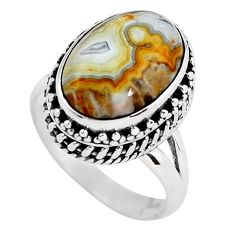 6.94cts natural mexican laguna lace agate silver solitaire ring size 7 p56708