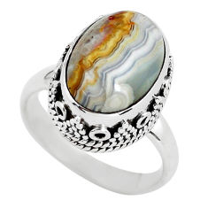 6.54cts natural mexican laguna lace agate silver solitaire ring size 7.5 p56710