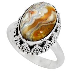 6.74cts natural mexican laguna lace agate silver solitaire ring size 8 p56711