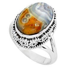 6.54cts natural mexican laguna lace agate silver solitaire ring size 7 p56714