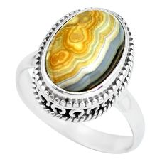 6.83cts natural mexican laguna lace agate silver solitaire ring size 8 p67621