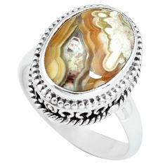6.83cts natural mexican laguna lace agate silver solitaire ring size 7 p67623