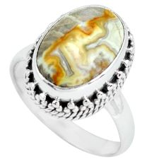 6.48cts natural mexican laguna lace agate silver solitaire ring size 8 p67624