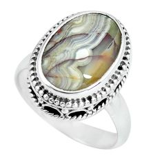 6.83cts natural mexican laguna lace agate silver solitaire ring size 6.5 p67627