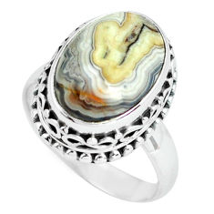 6.48cts natural mexican laguna lace agate silver solitaire ring size 7 p67630