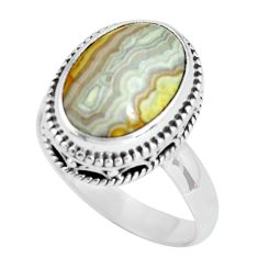 6.83cts natural mexican laguna lace agate silver solitaire ring size 8 p67631
