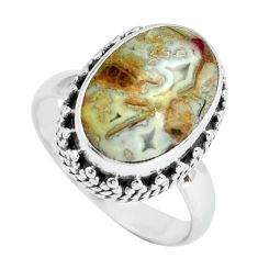 6.83cts natural mexican laguna lace agate silver solitaire ring size 7.5 p67633