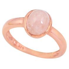 2.12cts natural morganite 925 silver gold solitaire ring size 6.5 c3782