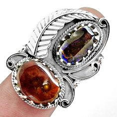 14.84cts natural multi color ammolite (canadian) 925 silver ring size 8 p42456