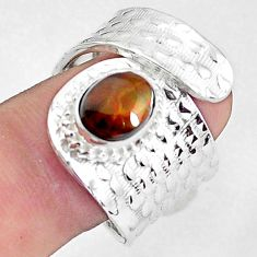 3.31cts natural multi color ammolite 925 silver adjustable ring size 8.5 p57242
