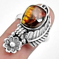 5.62cts natural multi color ammolite 925 silver solitaire ring size 8 p42482