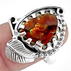 6.79cts natural multi color ammolite 925 silver solitaire ring size 7.5 p42491