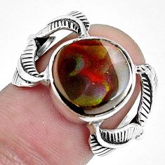 6.26cts natural multi color ammolite 925 silver solitaire ring size 6 p42494