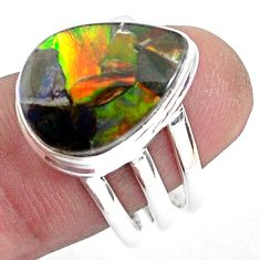 10.33cts natural multi color ammolite 925 silver solitaire ring size 7.5 p47835