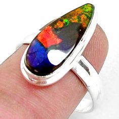 5.38cts natural multi color ammolite 925 silver solitaire ring size 9 p47874