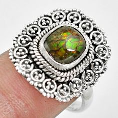3.70cts natural multi color ammolite 925 silver solitaire ring size 7.5 p61543
