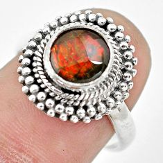 3.27cts natural multi color ammolite 925 silver solitaire ring size 7 p61554