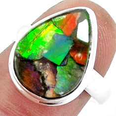8.53cts natural multi color ammolite pear silver solitaire ring size 8.5 p47873