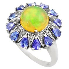 11.58cts natural multi color ethiopian opal 925 silver ring size 9 c4282