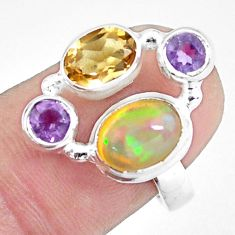 5.34cts natural multi color ethiopian opal 925 silver ring size 6.5 p60351