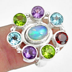 9.47cts natural multi color ethiopian opal 925 silver ring size 7.5 p78038