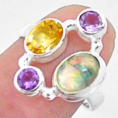 5.38cts natural multi color ethiopian opal citrine 925 silver ring size 7 p52527