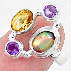 5.09cts natural multi color ethiopian opal citrine 925 silver ring size 7 p52528