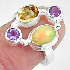 5.31cts natural multi color ethiopian opal citrine 925 silver ring size 7 p60345