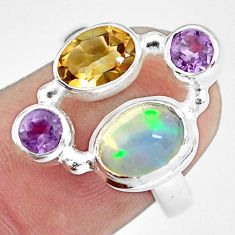 5.06cts natural multi color ethiopian opal citrine 925 silver ring size 7 p60346