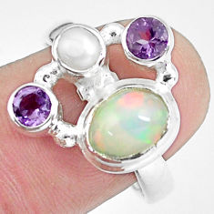 4.40cts natural multi color ethiopian opal citrine 925 silver ring size 8 p60354