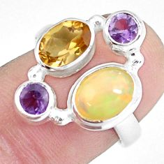 4.94cts natural multi color ethiopian opal citrine 925 silver ring size 7 p60358