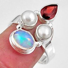 6.36cts natural multi color ethiopian opal garnet 925 silver ring size 8 p90790