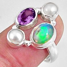 6.10cts natural multi color ethiopian opal pearl 925 silver ring size 7.5 p90788