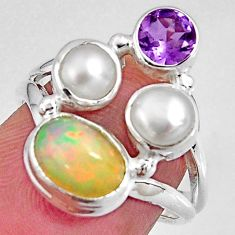 6.27cts natural multi color ethiopian opal pearl 925 silver ring size 6.5 p90791