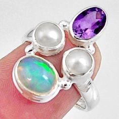 6.36cts natural multi color ethiopian opal pearl 925 silver ring size 6.5 p90793
