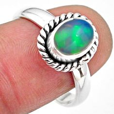 2.02cts natural multi color ethiopian opal silver solitaire ring size 8 p84809