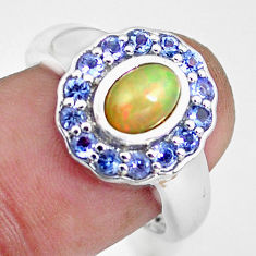 3.62cts natural multi color ethiopian opal tanzanite silver ring size 8 c3880