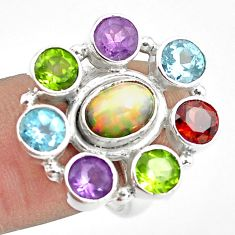 9.47cts natural multi color ethiopian opal topaz 925 silver ring size 7.5 p78021