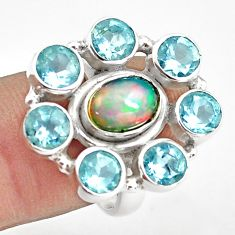 8.98cts natural multi color ethiopian opal topaz 925 silver ring size 7 p78034