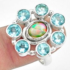 9.64cts natural multi color ethiopian opal topaz 925 silver ring size 9 p78052